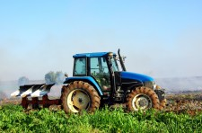 Blue tractor in portuguese field